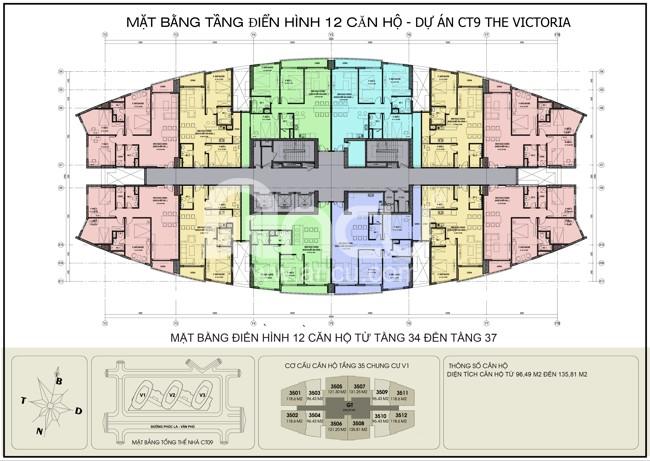 Mặt bằng chung cư Văn Phú Victoria 12 căn hộ
